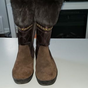 Coach Lesly Metallic Boots Like New!